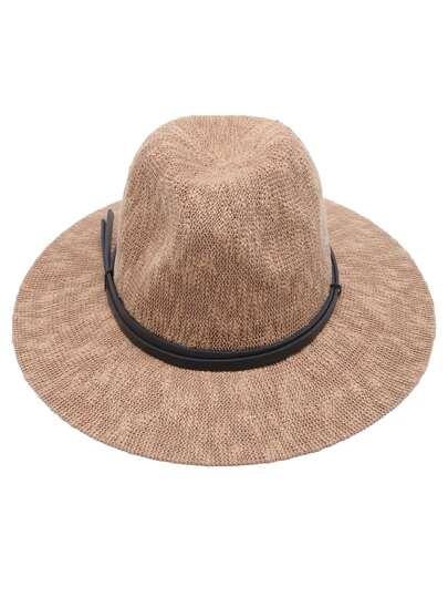 Khaki Faux Leather Band Braided Fedora Hat