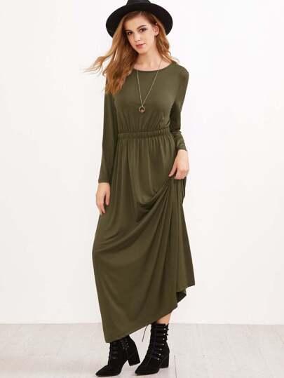 فستان طويل كم طويل - أخضر عسكري