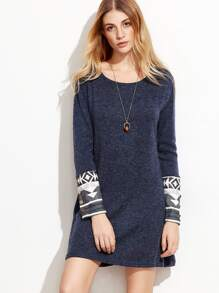 Heather Navy Contrast Cuff Geometric Print Dress