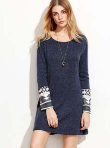 Navy Contrast Cuff Geometric Print Dress