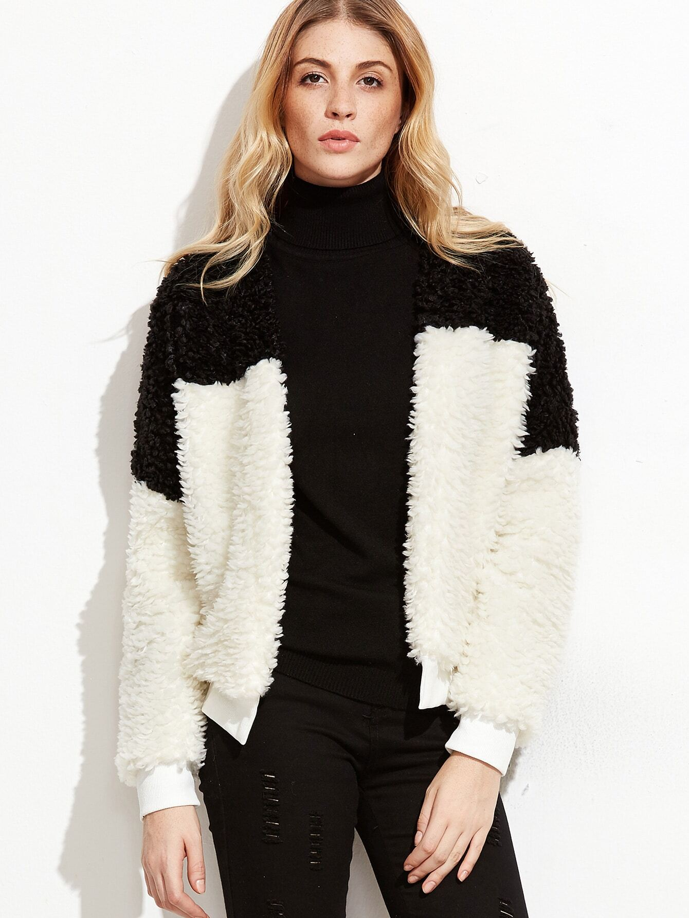 Contrast Ribbed Trim Open Front Faux Fur Jacket jacket161010704