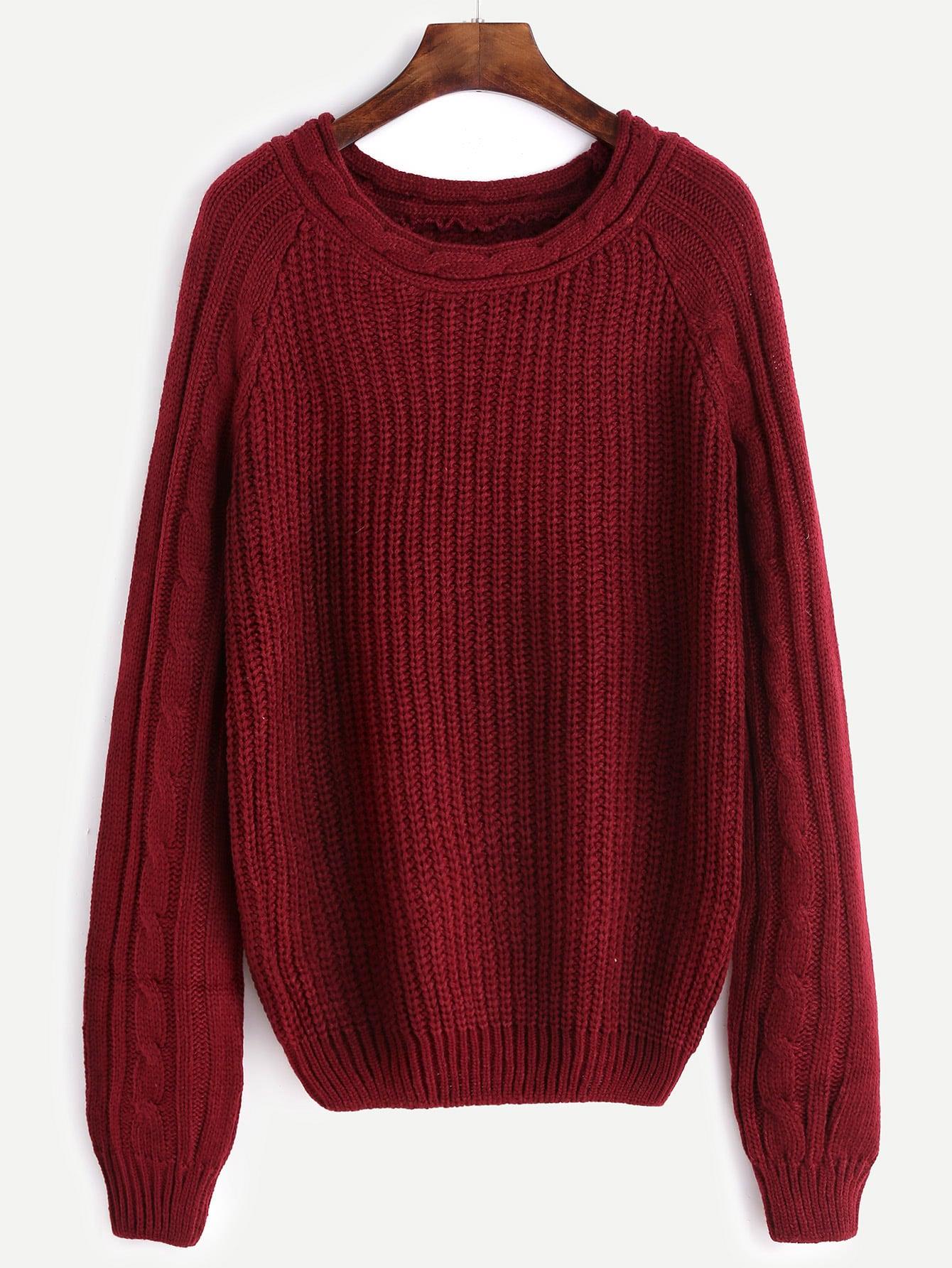 Burgundy Mixed Knit Raglan Sleeve Sweater sweater161021462