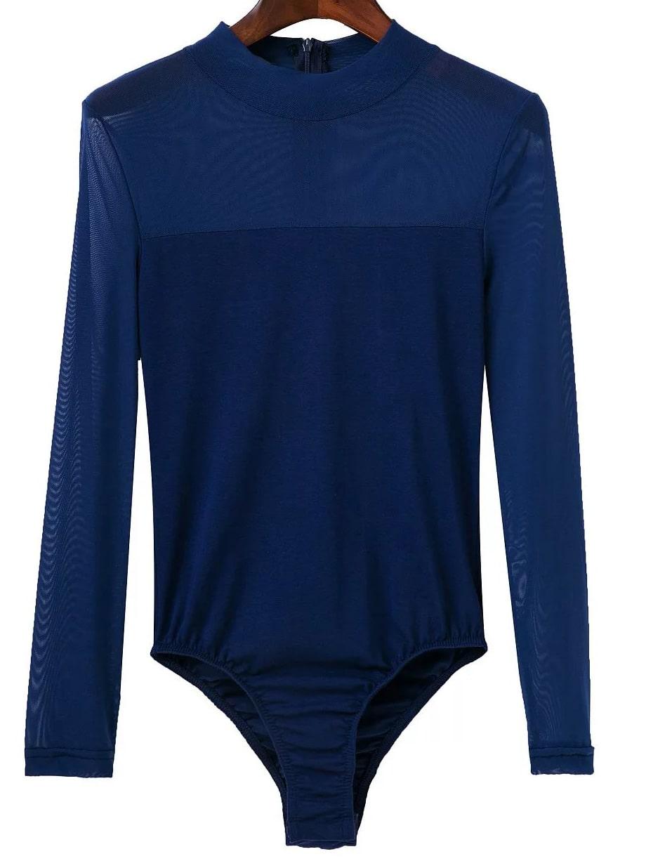 Фото Blue Mesh Crew Neck Zipper Bodysuit. Купить с доставкой