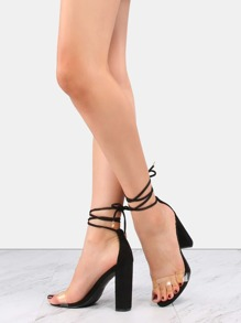 Transparent Lace Up Chunky Heels BLACK