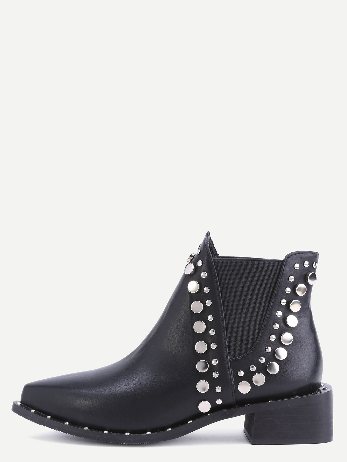все цены на Black Faux Leather Point Toe Studded Elastic Ankle Boots