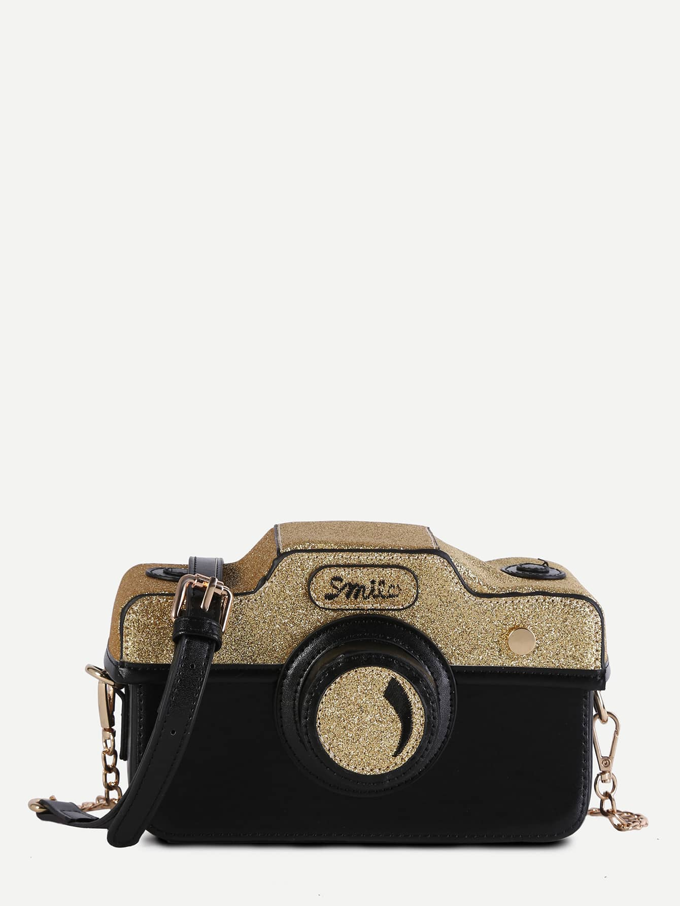Mini Black Faux Leather Camera Bag With Chain