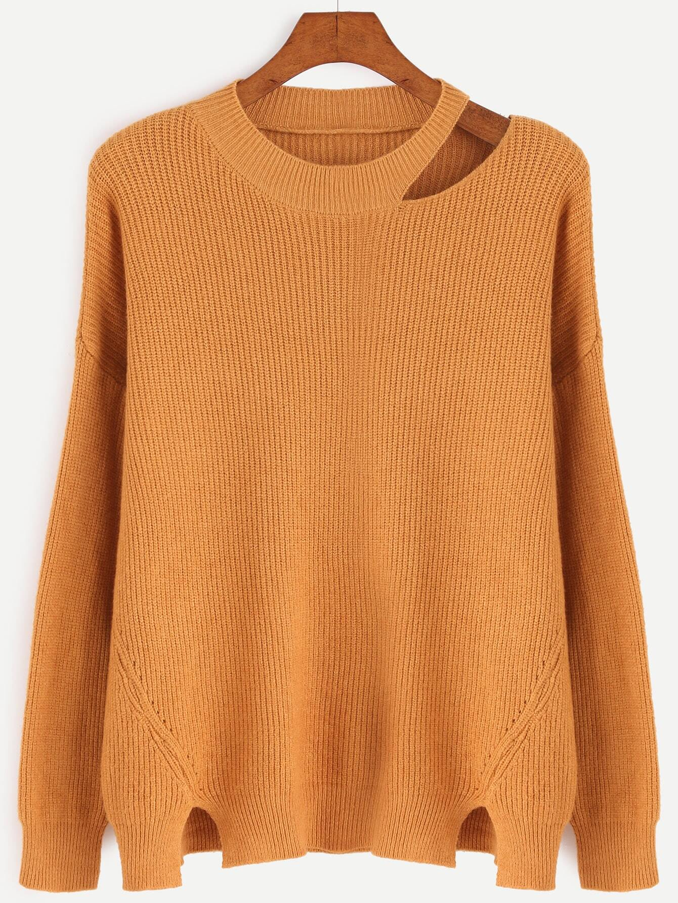 Khaki Cut Out Neck Slit Side Sweater sweater161021006