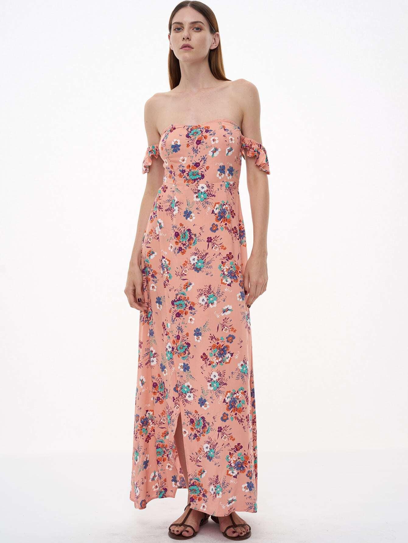 Фото Pink Florals Off The Shoulder Slit Ruffle Dress. Купить с доставкой