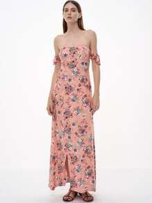 Vestido con hombro al aire volantes y abertura - rosa