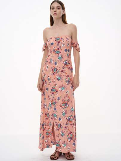 Pink Florals Off The Shoulder Slit Ruffle Dress