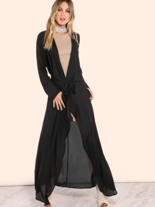 Waterfall Lapel Chiffon Duster BLACK