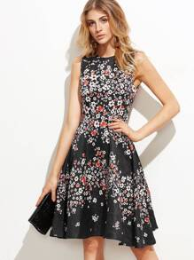 Black Floral Print Jacquard Fit And Flare Dress