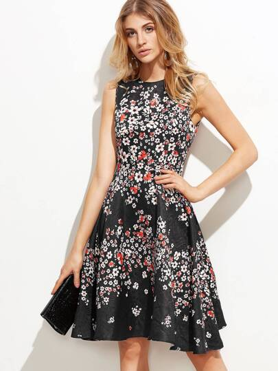 Calico Print Jacquard Fit And Flare Dress