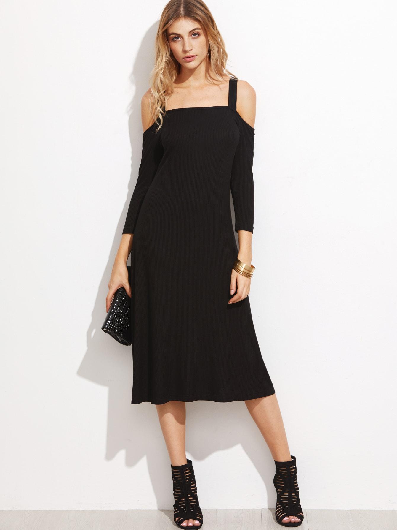 Black Cold Shoulder Ribbed Midi Dress dress161012709