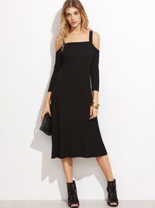 Black Cold Shoulder Ribbed Midi Dress