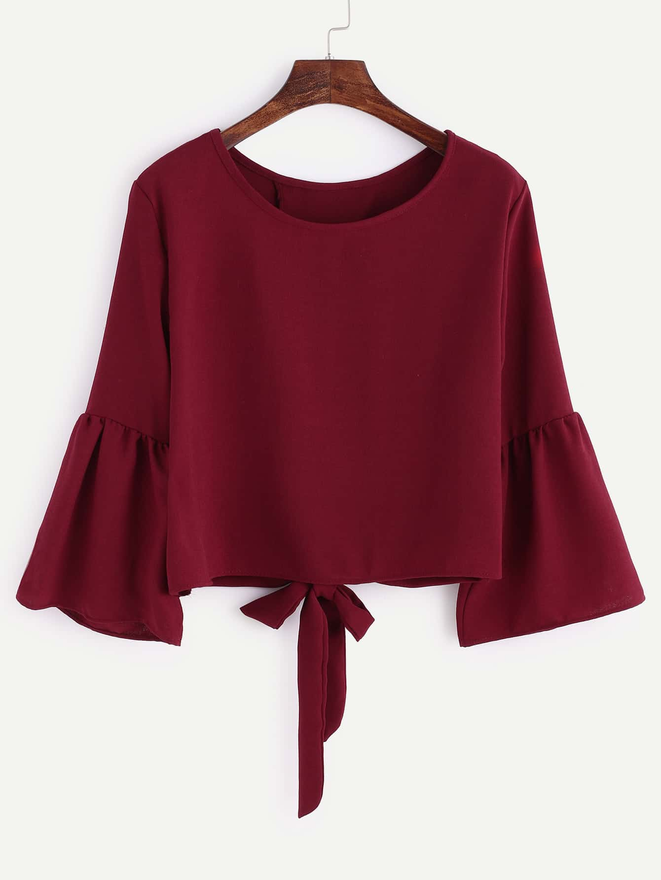 Bell Sleeve Overlap Back Tie Detail Blouse pearl detail layered bell sleeve ribbed top