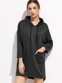Black Slit Side High Low Hooded Dress