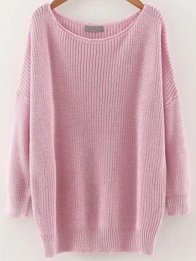 Pink Round Neck Drop Shoulder Knitwear sweater161018209