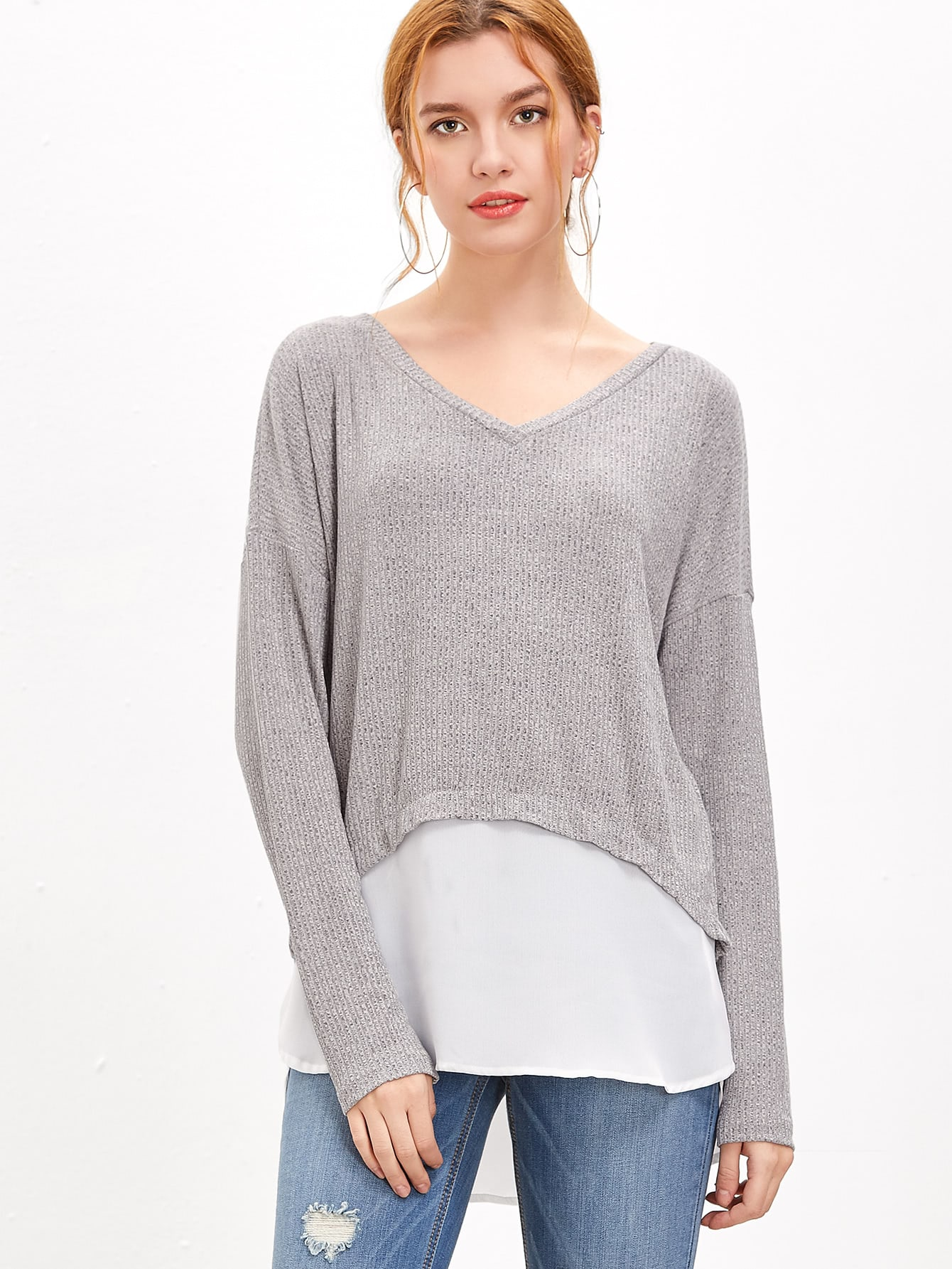 Heather Grey Contrast Trim Ribbed T-shirt tee161020705