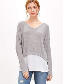 Heather Grey Contrast Trim Ribbed T-shirt
