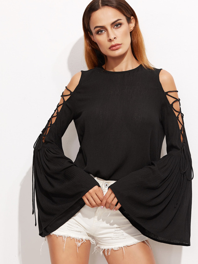 Lace Up Open Shoulder Flute Sleeve Crinkle Top