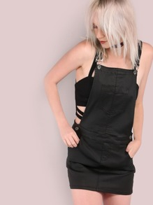 Faux Leather Mini Overall Dress