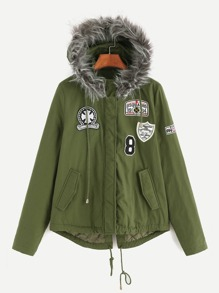 Olive Green Faux Fur Trim Hooded Jacket With Patch Detail