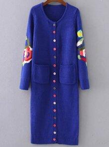 Cappotto Maglione Lungo Con Bottone Disegno Floreale - Blu