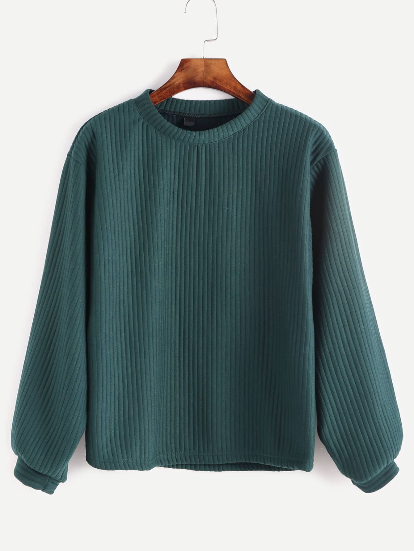 Peacock Green Ribbed Sweatshirt