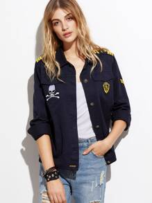 Button Up Jacket With Embroidered Epaulet