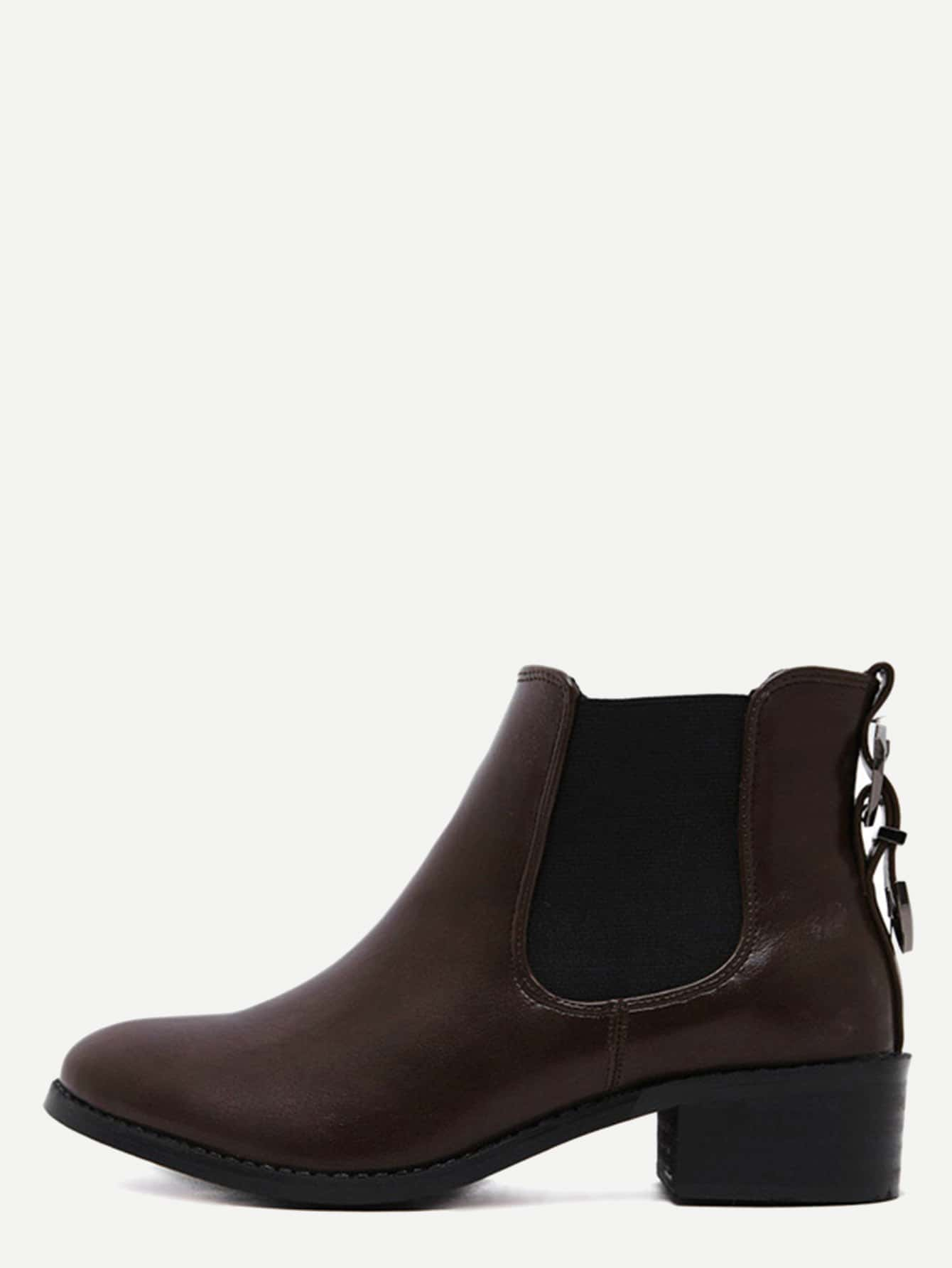 Brown Faux Leather Almond Toe Elastic Buckle Strap Boots shoes161010805