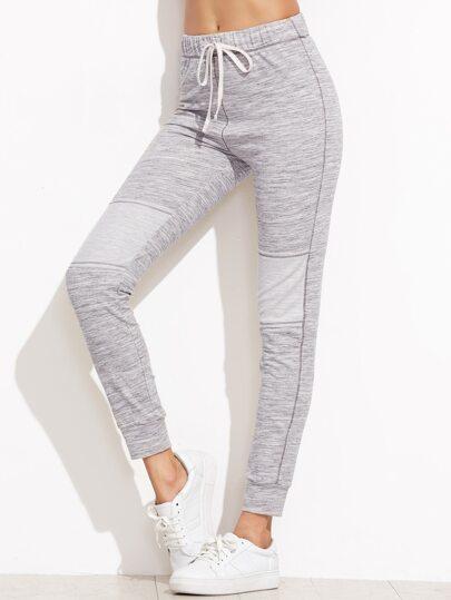 Heather Grey Drawstring Waist Skinny Sweatpants