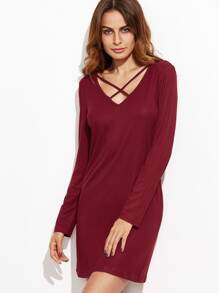 Burgundy Crisscross V Neck Ribbed Sheath Dress