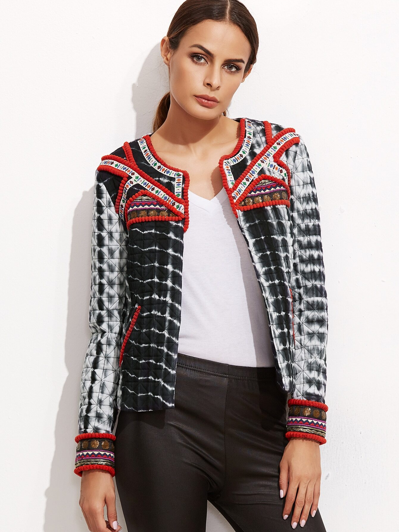 Black Tie Dye Print Quilted Jacket With Embroidered Tape Detail
