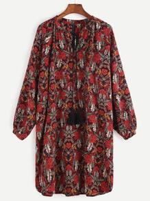 Multicolor Floral Fringe Detail Dress