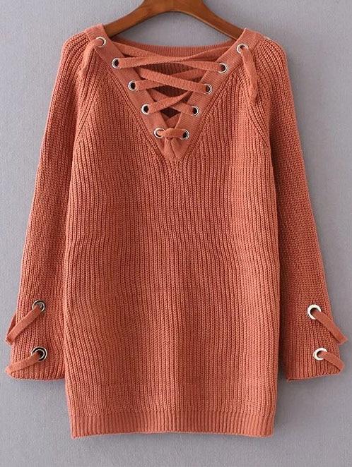 Orange Eyelet Lace Up V Neck Sweater sweater161025207