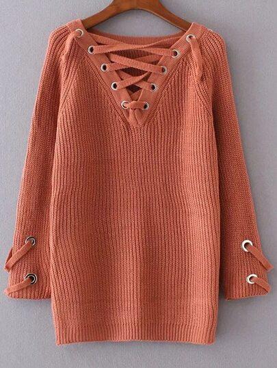 Orange Eyelet Lace Up V Neck Sweater