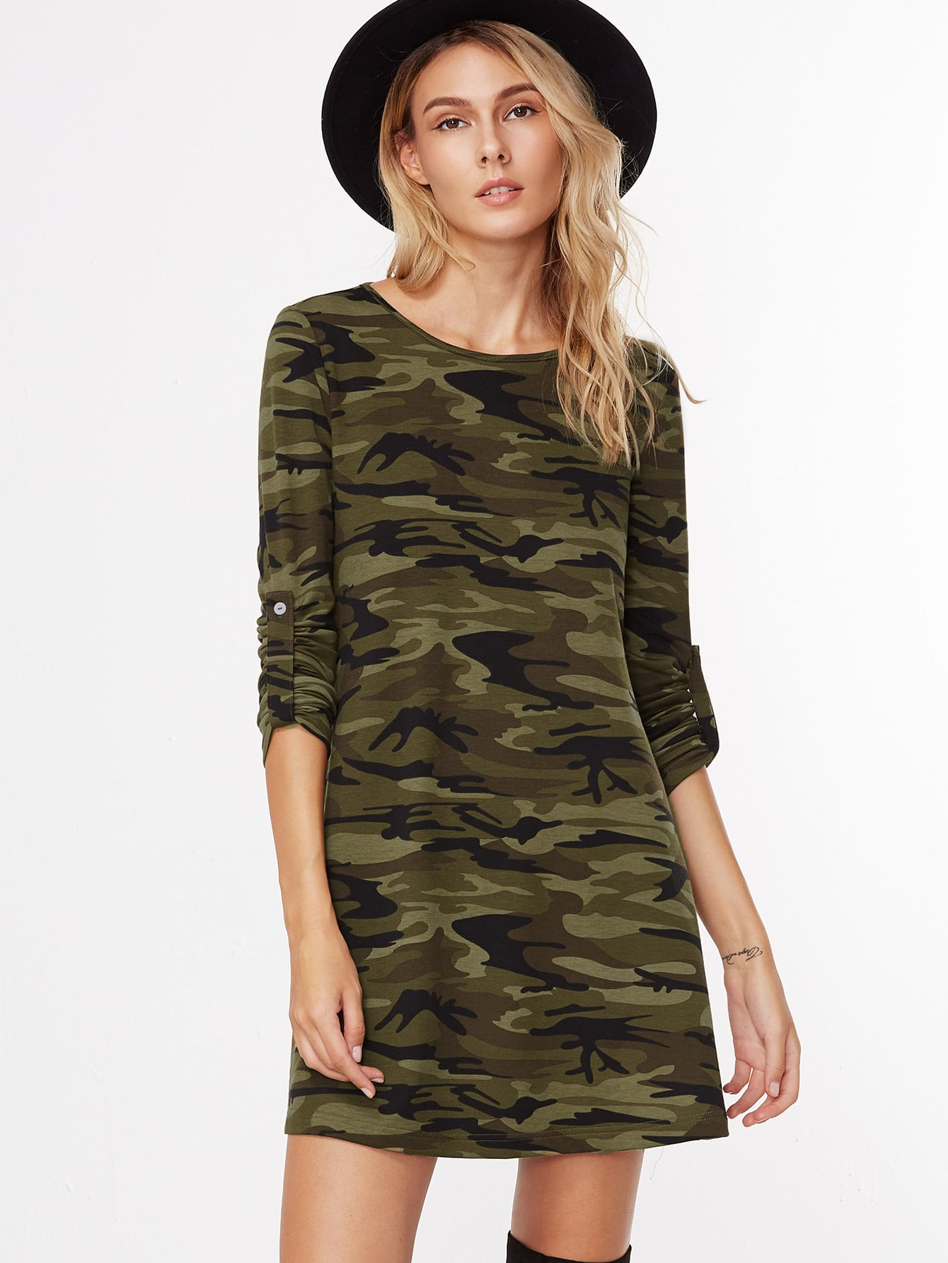 Camouflage Print Roll Sleeve A Line DressCamouflage Print Roll Sleeve A Line Dress<br><br>color: Army Green<br>size: L,M,S,XS