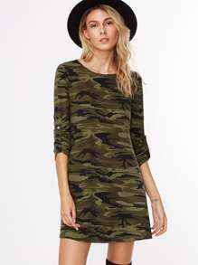 Camouflage Print Roll Sleeve A Line Dress