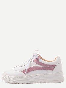 White and Pink Faux Leather Lace Up Low Top Sneakers