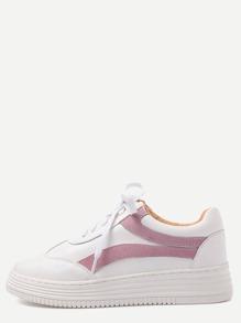 Scarpe Con Lacci Ecopelle - Bianco Rosa