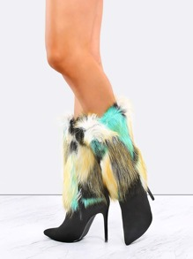 Pointed Toe Tie Dye Fur Boots BLACK MULTI