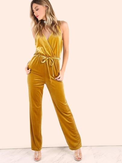 Double V Surplice Neckline Tie Waist Jumpsuit GOLD