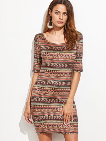 Multicolor Tribal Print Double Scoop Neck Bodycon Dress