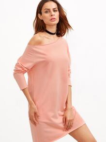Pink Raw Edge Off The Shoulder Sweatshirt Dress