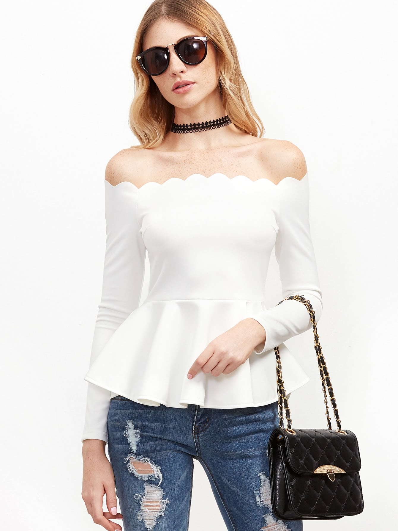 Off Shoulder Scallop Frill Hem Top drop shoulder frill hem batwing sweatshirt