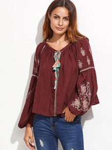 Burgundy Tassel Tie Neck Embroidered Blouse