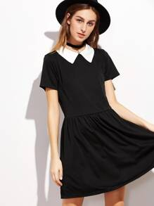 Contrast Collar Zipper Back A-Line Dress