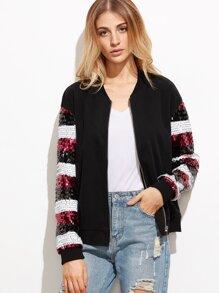 Color Block Sequin Sleeve Zip Up Bomber Jacket