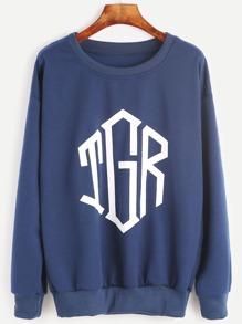 Dark Blue Letter Print Sweatshirt
